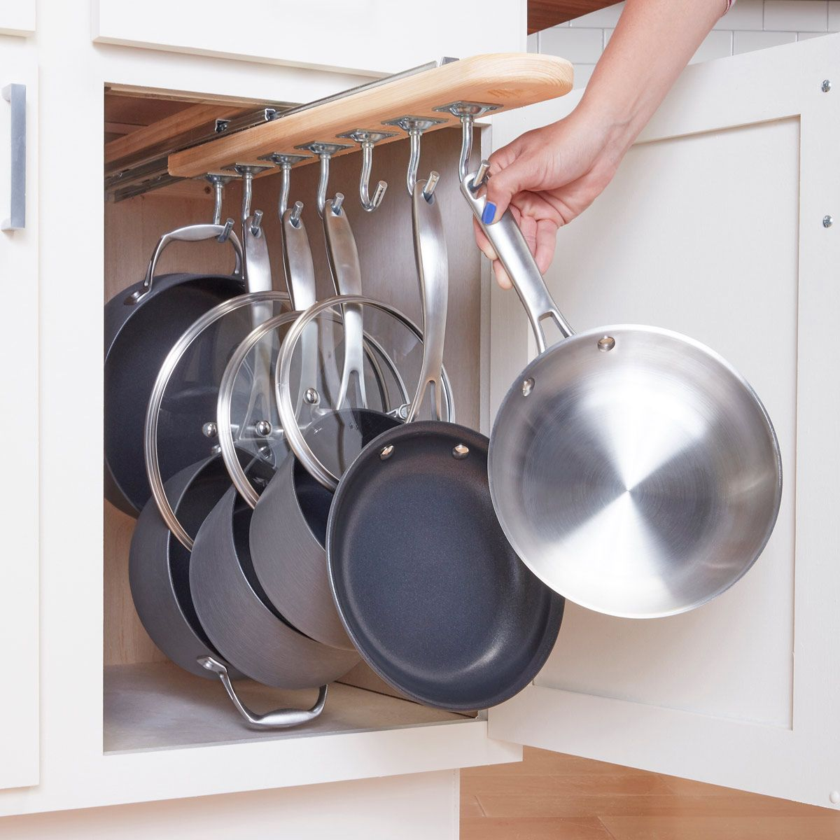 Kitchen Cabinet Storage Solutions: DIY Pot and Pan Pullout