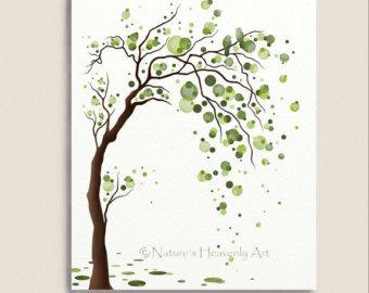 Grünen Baum Aquarell Kunst 8 x 10 Grafik, Liebe Vögel, Baum Illustration, moderne Wanddekoration, Kreise, Polka Dots (168)