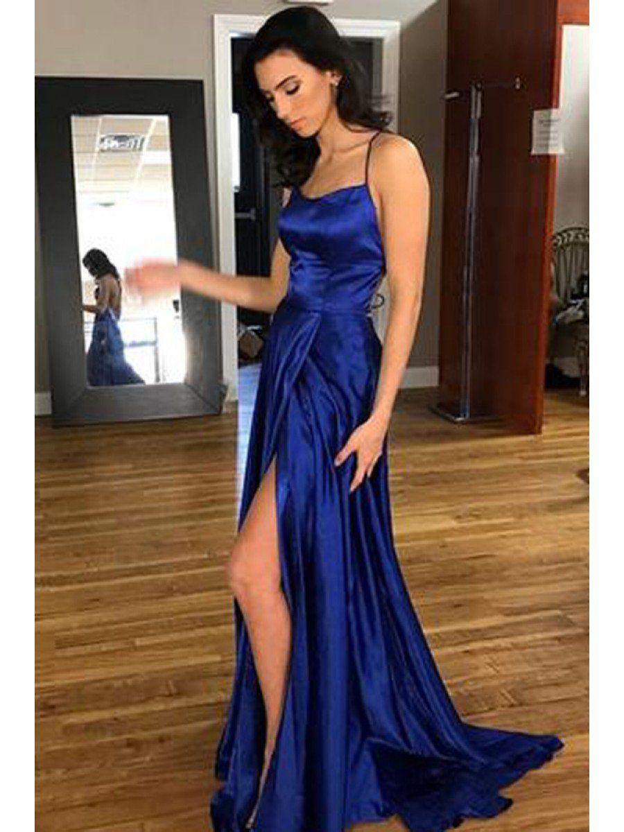 bea6c3bcfb1 Royal Blue Sexy A-line Long Prom Dress With Slit School Dance Dress Fashion  Winter Formal Dress YDP0279