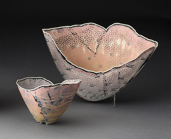 "Curtis Benzle, ""Small Envelope Bowl"" 1985, colored porcelain, 3.5 x 4.75 x 4"", ""Large Envelope Bowl"" 1985, colored porcelain, 6 x 9 x 3"". (Pennington)"