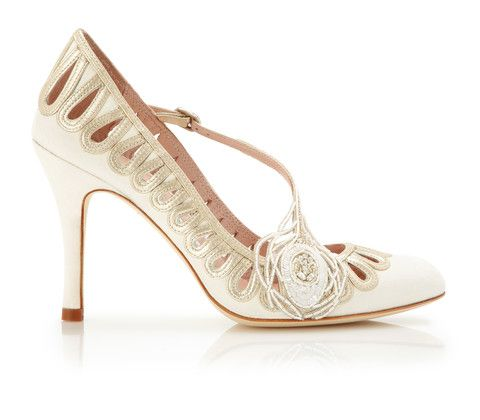 phoenix  bridal shoe  ivory kid suede and gold leather