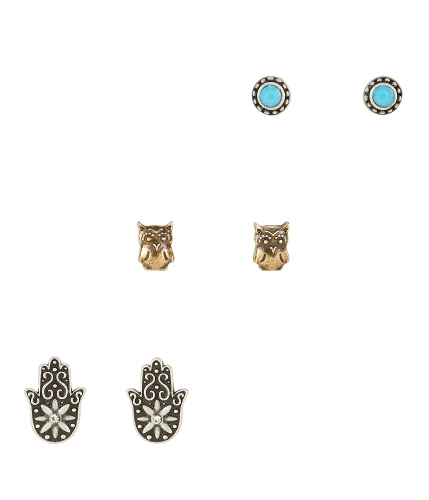 Hamsa Stud Earrings 3-Pack - Aeropostale