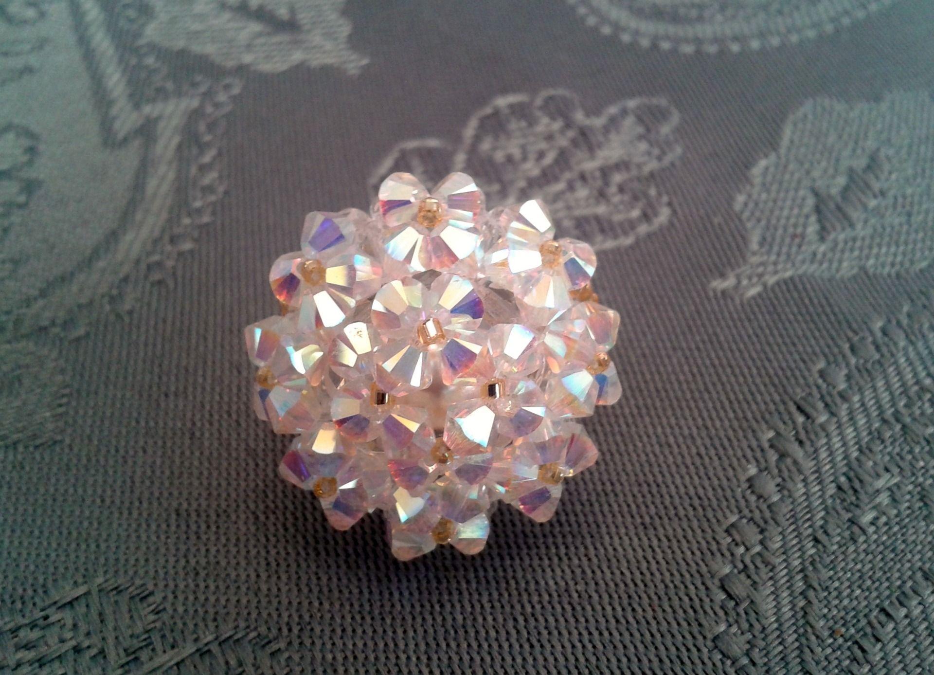 Bague blanche Diamant en perles de cristal Swarovski : Bague par ...
