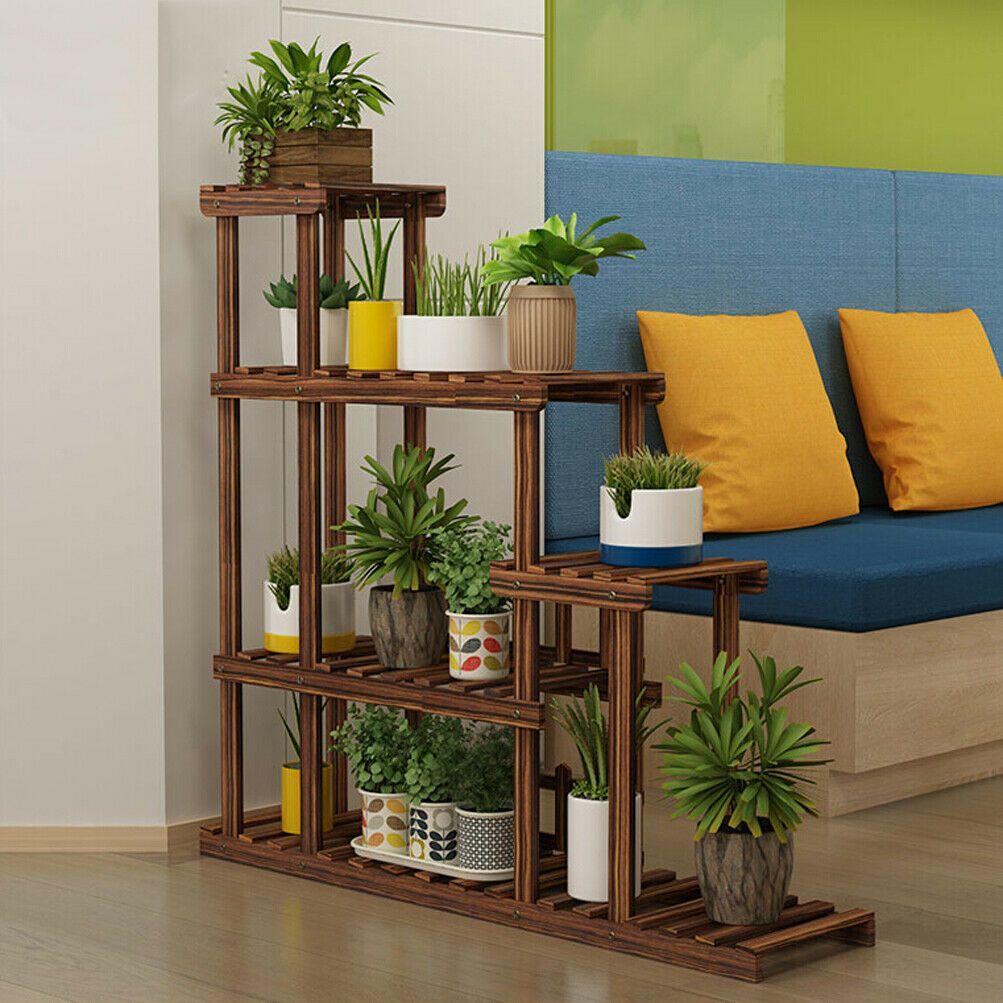 510 tier pot wooden flower plant stand shelf 4wheels
