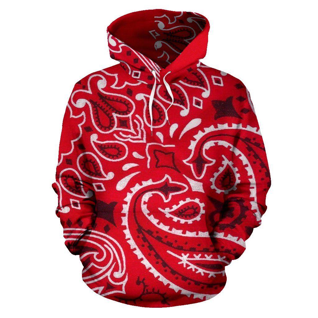 Bandana Fever Big Red Bandana Print Pullover Hoodie la