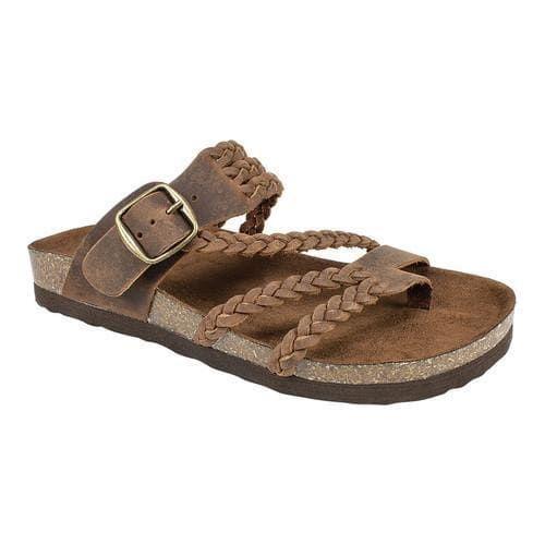 eca04bd43356 Women s White Mountain Hayleigh Toe Loop Sandal Brown Leather (US Women s 9  M (Regular