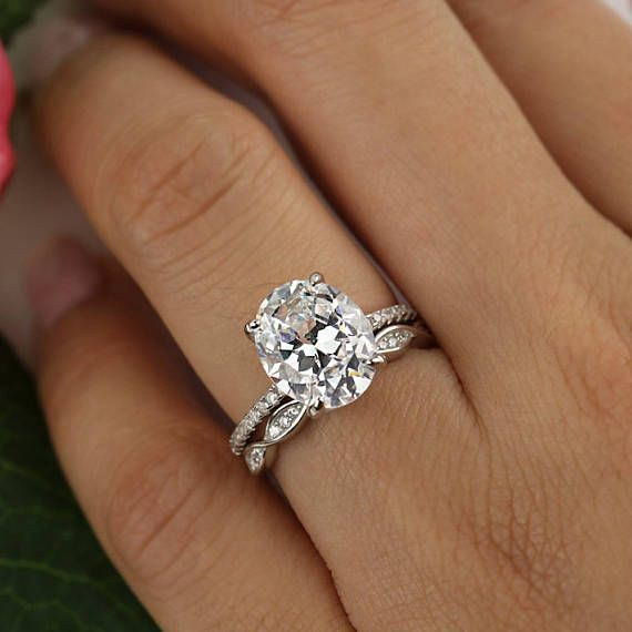 size ctw oval wedding set solitaire engagement ring art deco swirl wedding band man made diamond simulants sterling silver - Solitaire Engagement Ring With Diamond Wedding Band
