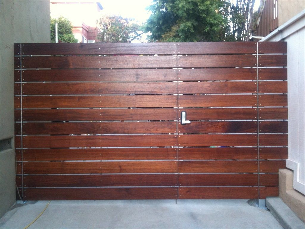 Ipe modern horizontal fence gate Fence design, Yard privacy