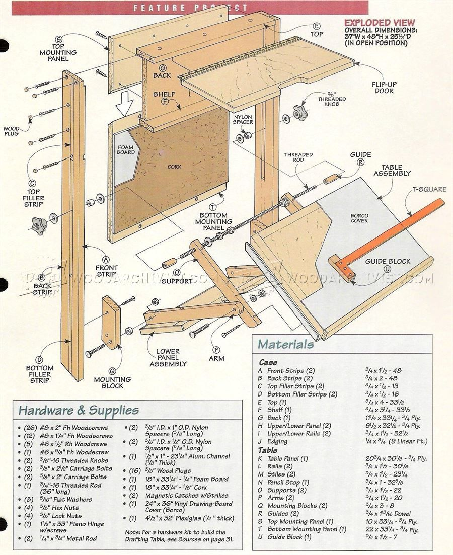 #373 Fold Down Drafting Table Plans   Workshop Solutions | Woodworking Plans  | Pinterest | Table Plans, Woodworking And Woodworking Plans