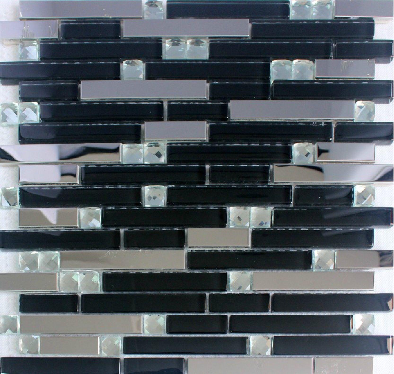 - Stainless Steel Tile Backsplash SSMT274 Kitchen Mosaic Glass Wall