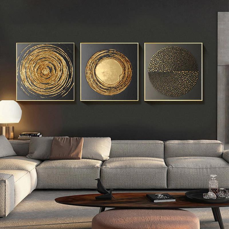 Luxury Nordic Golden Black Abstract Stylish Modern Wall Art Fine Art Canvas Prints Nordi Living Room Canvas Wall Decor Living Room Modern Home Decor Wall Art