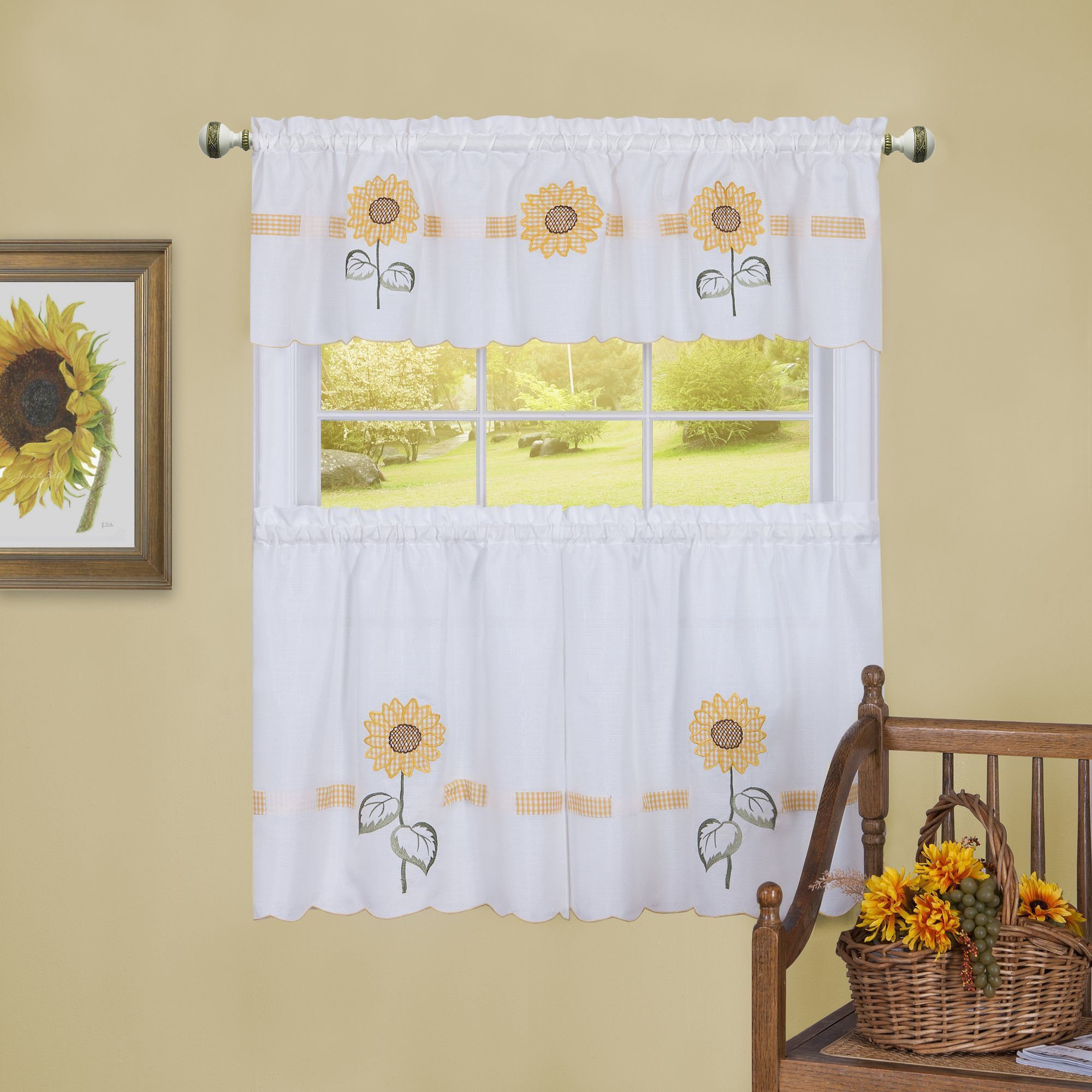 Sun blossoms embellished tier and valance window curtain set x