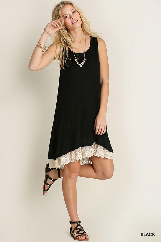 Umgee Plus Sleeveless Tank Long Slip Dress Top Extender Lace