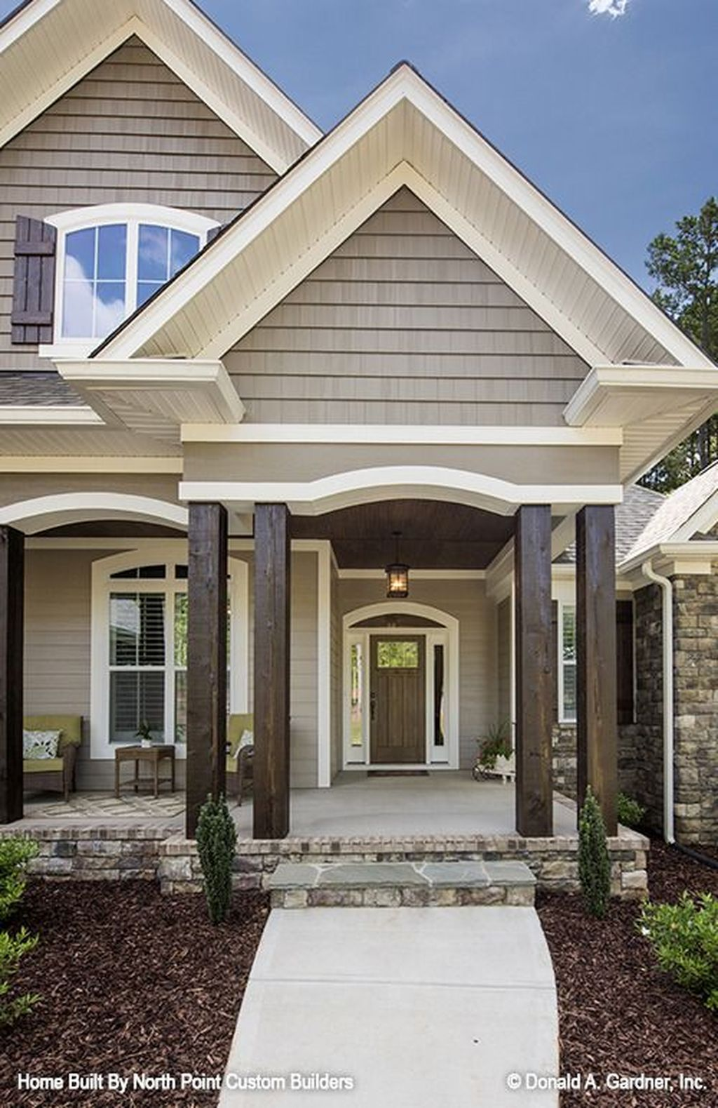 16 Enchanting Modern Entrance Designs That Boost The Appeal Of The Home: 59 Adorable Exterior House Porch Ideas Using Stone Columns