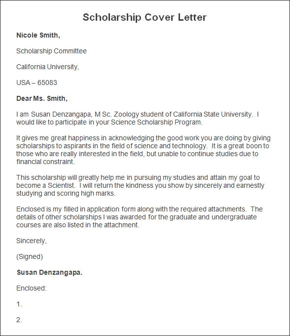 writing a cover letter for scholarship 16 sample template within