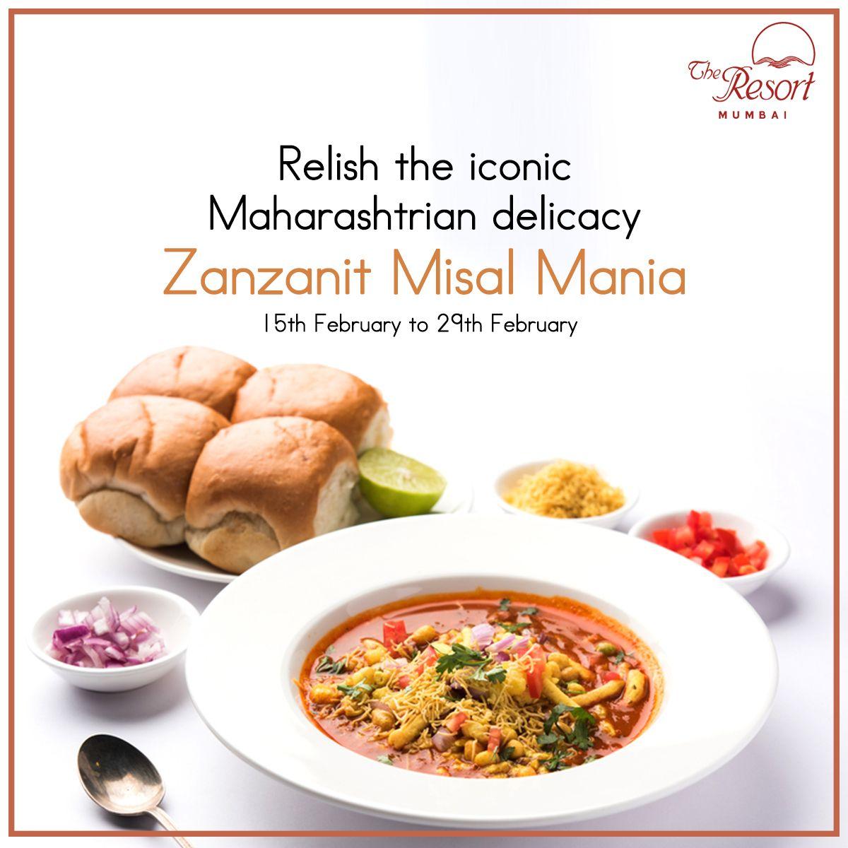 Do join us for a lip-smacking experience from 15th February to 29th February exclusively at The Resort.  Visit us at www.theresortmumbai.com  #TheResort #BeachResort #MumbaiResort #LuxuryResorts #FoodResort #Zanzanit #MisalPav #Misal #ZanzanitMisalMania #Spicy #MaharashtrianDelicacy #MaharashtrianRecipe #Maharashtrafood #FoodLover #MisalLover #Misalpavlover #MisalFest #MisalMania #MumbaiFoodie #Foodie #InstaFoodie #SpicyFoodLover