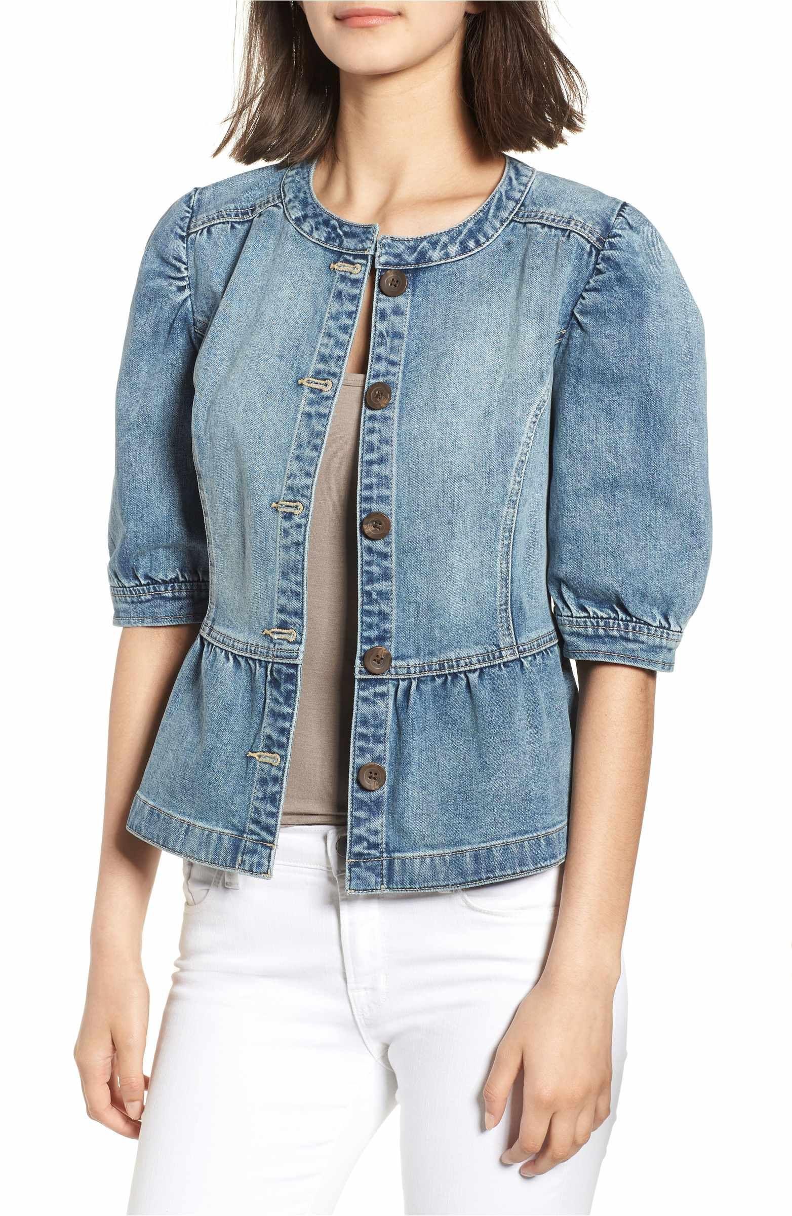 Hinge Peplum Denim Jacket Nordstrom Denim Jacket Women Feminine Denim Jacket Denim Jacket [ 2400 x 1564 Pixel ]