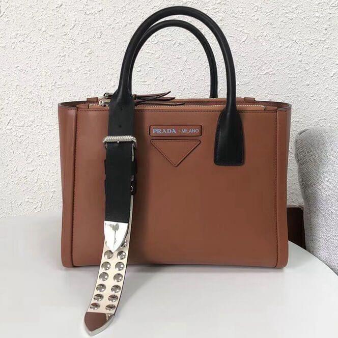17b3bdc1bc1174 Prada Concept Leather Handbag 1BA175 Brown 2018 #Pradahandbags ...