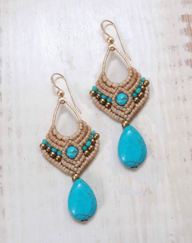 Macrame orecchino orecchini tribali orecchini di turchese | Etsy