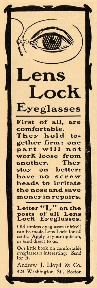1901 Vintage Ad Lens Lock Eyeglasses Andrew J Lloyd Co ORIGINAL ADVERTISING