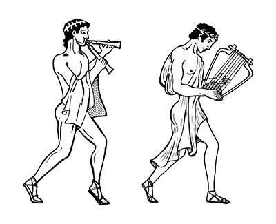 Ancient Greek musicians. 2 versions By CatMadePattern