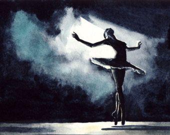 Black Swan Ballerina Feather Tutu Swan Lake by LauraRowStudio | Ballerina  art, Ballet art, Ballet painting