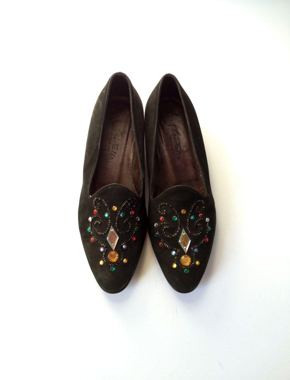 e6dd38be71a48 Vintage Italian Shoes. Suede Flat Shoes. 90's Italian Shoes. Black ...