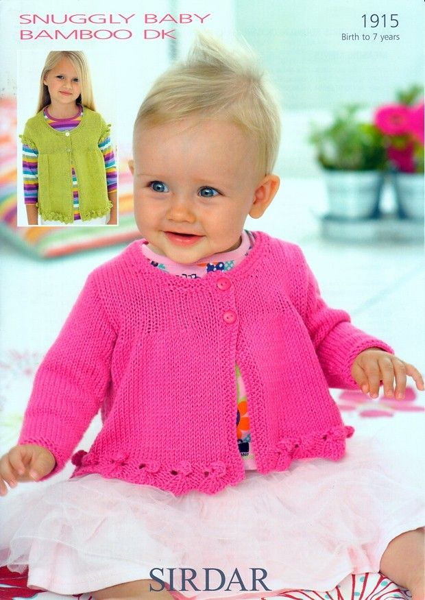 Baby and Girls Round Neck Cardigans in Sirdar Snuggly Baby Bamboo DK ...