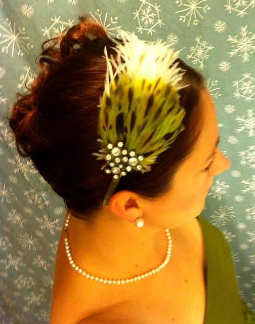 Handmade feather headband for New Years Eve hair.  Hey, that's me!