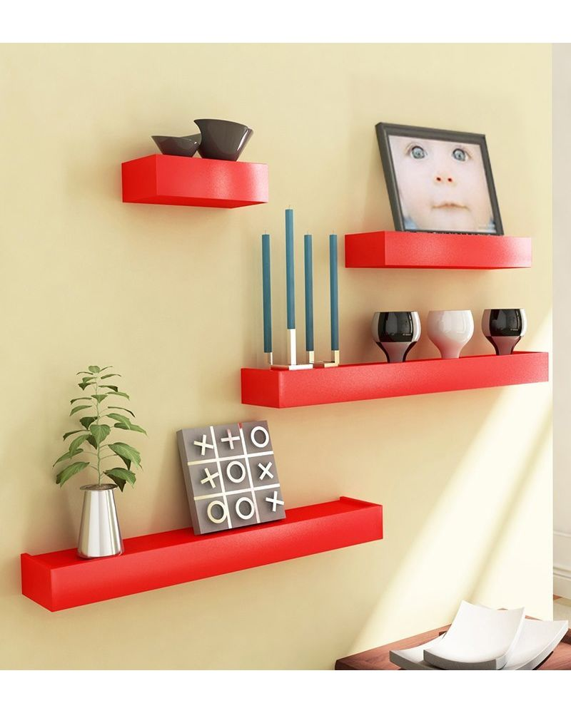 Desi Karigar Red Engineered Wood Wall Shelves - Set Of 4 | Home ...