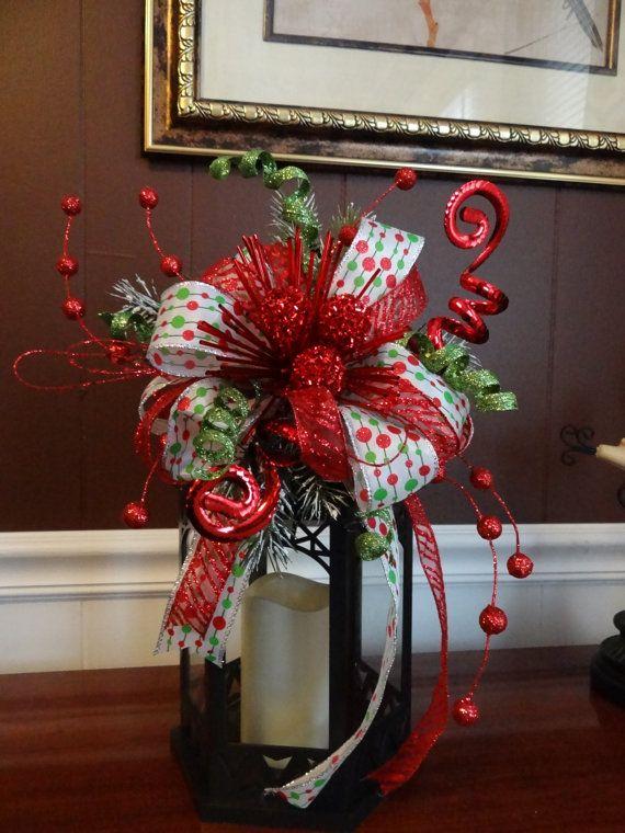 Christmas lantern swag, Red white green ribbon swag, bow ...