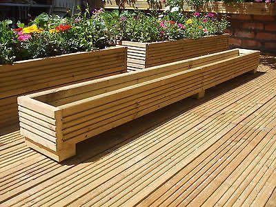 Long Wooden Planter Box Google Search Backyard Deck Planters Garden Boxes