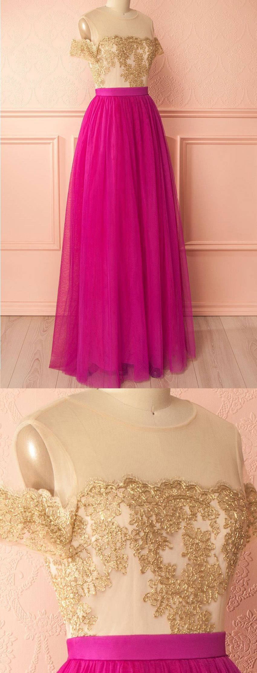 Hot sale short sleeve dresses long fuchsia evening prom dresses with