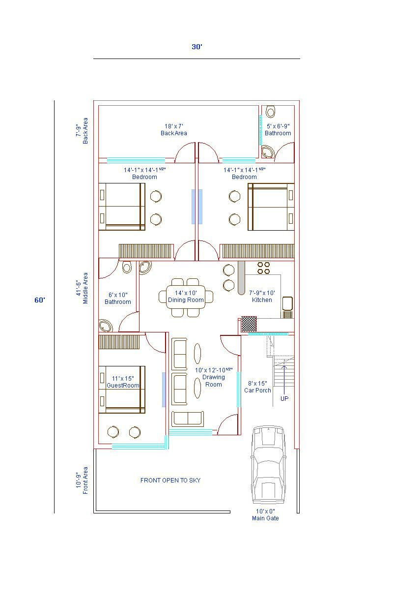 X House Plans Islamabad East Facing With Vastu Duplex For 30x60 from ...