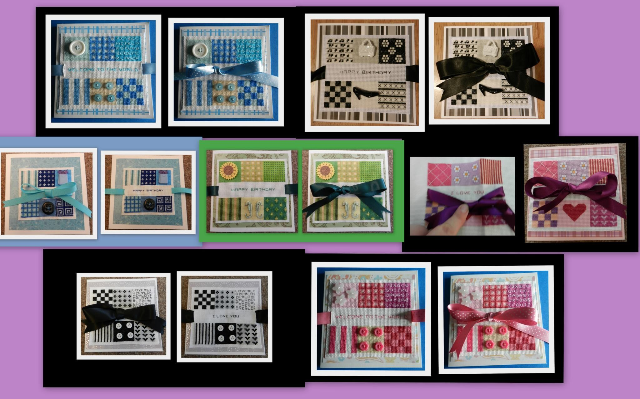 my new range of cross stitched cards. Designed by tulipacious designs!