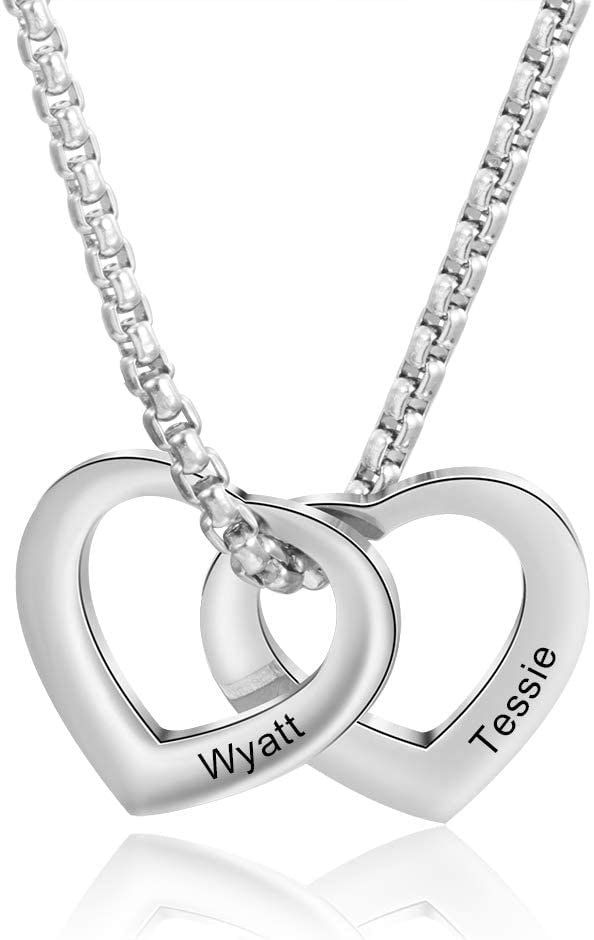 """""""✔ Personalized Couple Heart Necklace - Order one for yourself or your lover, customizing it with your names, date of birth, inspirational short messages, coordinates, or initials to make it more special. A great gift idea on Valentine's Day, Mother's Day, Father's Day, Wedding, Christmas, Graduation, Birthday, and Thanksgiving Day. ✔ This necklace is made from 316L Stainless Steel which is Hypoallergenic - Allergy free. High polished finish, won't fade, rust, tarnish, corrode or turn your skin"""