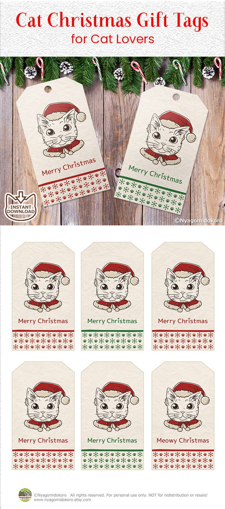cat christmas gift tags set of 6 printable gift tags holiday gift