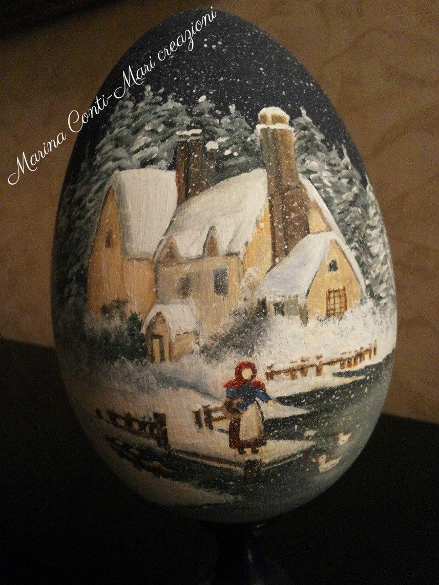 Uovo in legno tornito- dipinto con paesaggio invernale