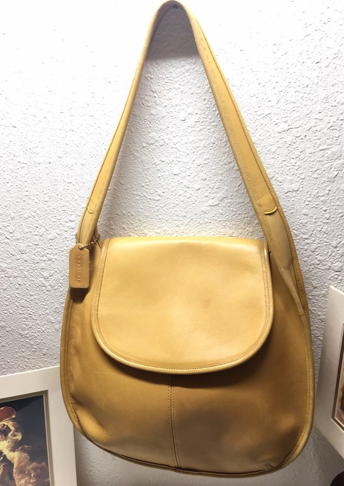 Authentic 70 S Vintage Coach 9029 Xlg Ergo Yellow Leather Hobo Shoulder Handbag Handbags And