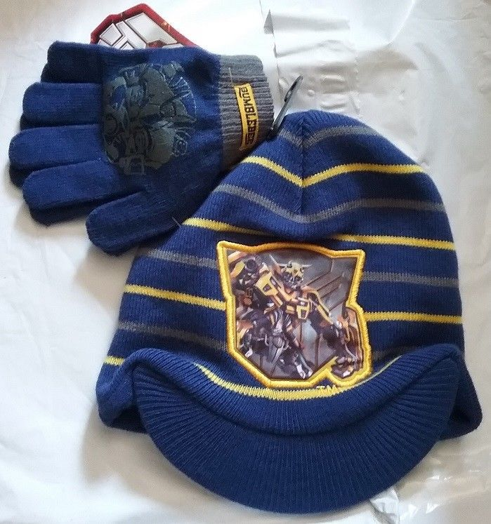 d0c706cc3 Transformers BumBLeBee Boy's Beanie Hat and Gloves Set NeW Navy Blue ...