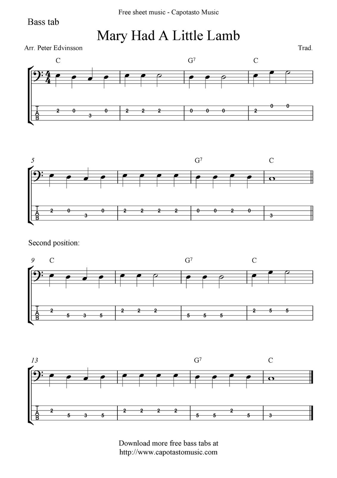 Guitar songs for beginners mary had a littel lamb free bass tab sheet music