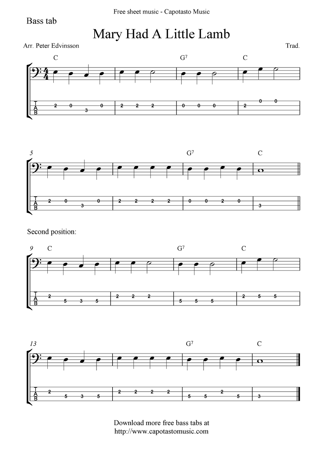 guitar songs for beginners mary had a littel lamb free bass tab sheet music mary had a little. Black Bedroom Furniture Sets. Home Design Ideas