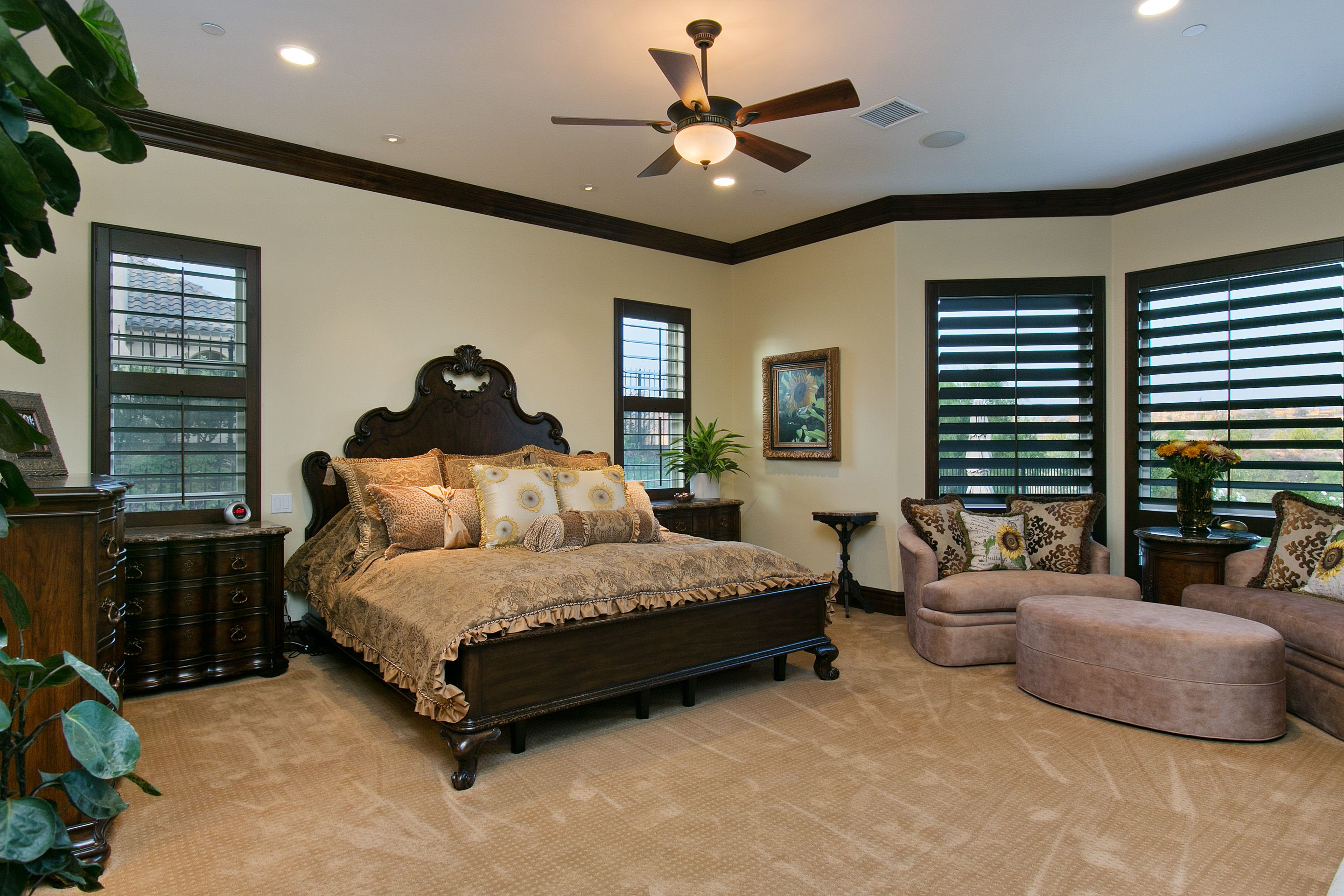 Master Bedrooms are built with plenty of room for a California King and a sitting area.