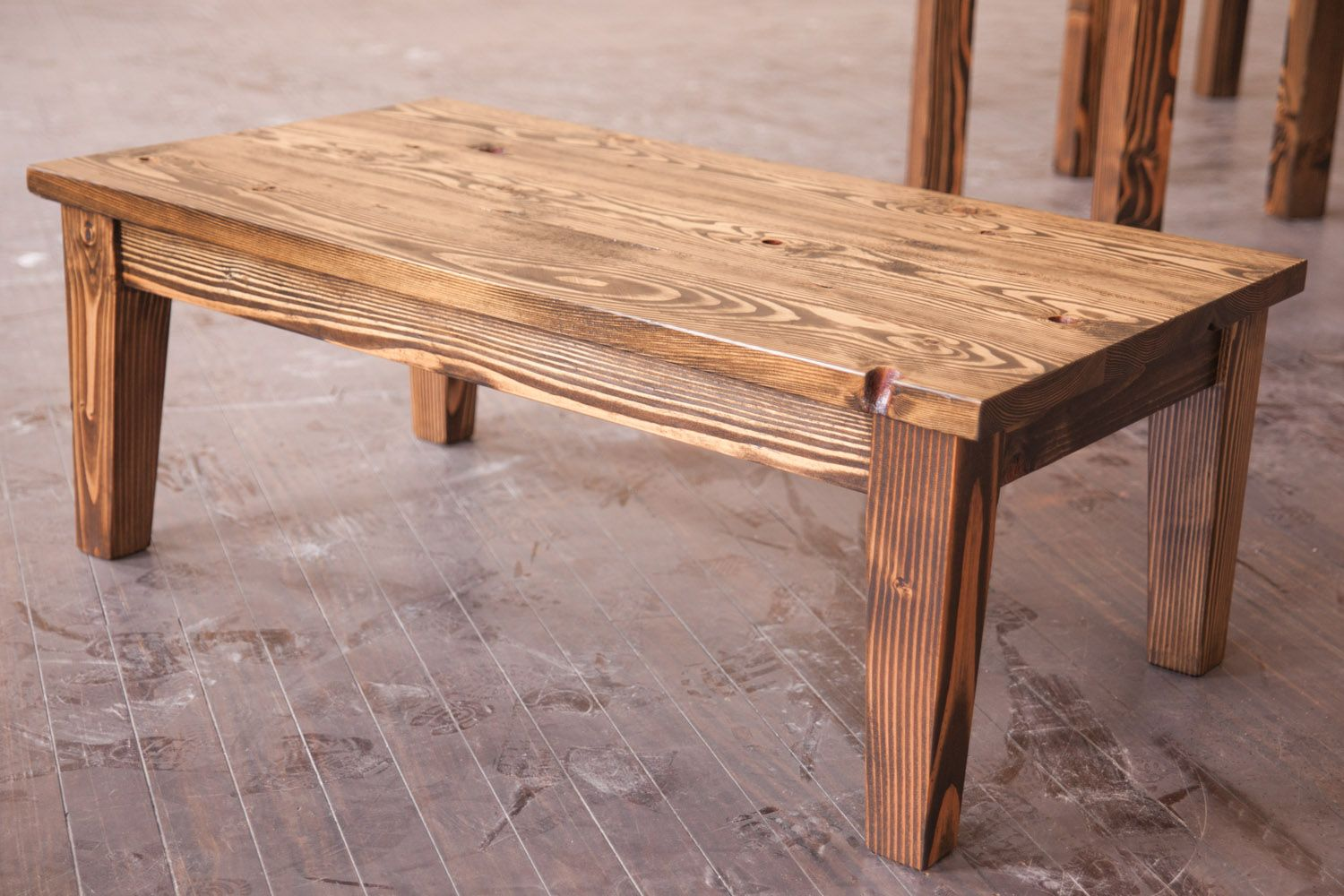 4u0027 Farmhouse Coffee Table With Tapered Legs. Stained Dark Walnut Distressed  Top. For