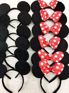 30 PCS Minnie Mouse Ears Headbands Black Pink Polka Dot Bow Party Favors Mickey