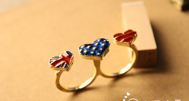 Flag Heart Double Fingers Ring