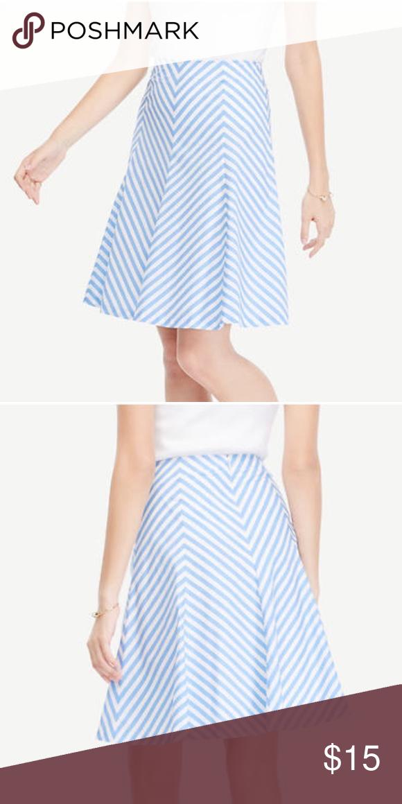 010619402308 NWT Blue & White Striped Poplin Flare Skirt NWT Ann Taylor blue and white striped  skirt Ann Taylor Skirts A-Line or Full
