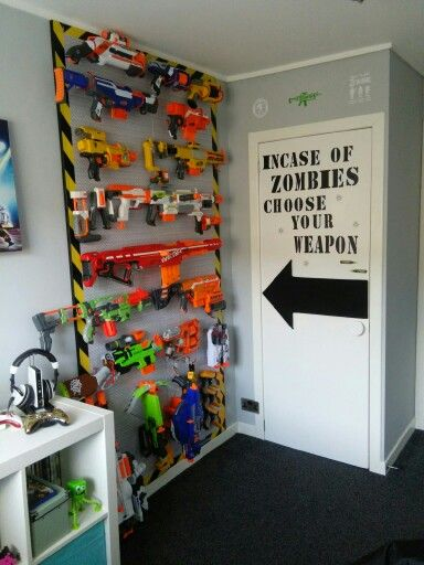 Nerf storage that looks cool all playroom for little - Cool stuff for boys room ...