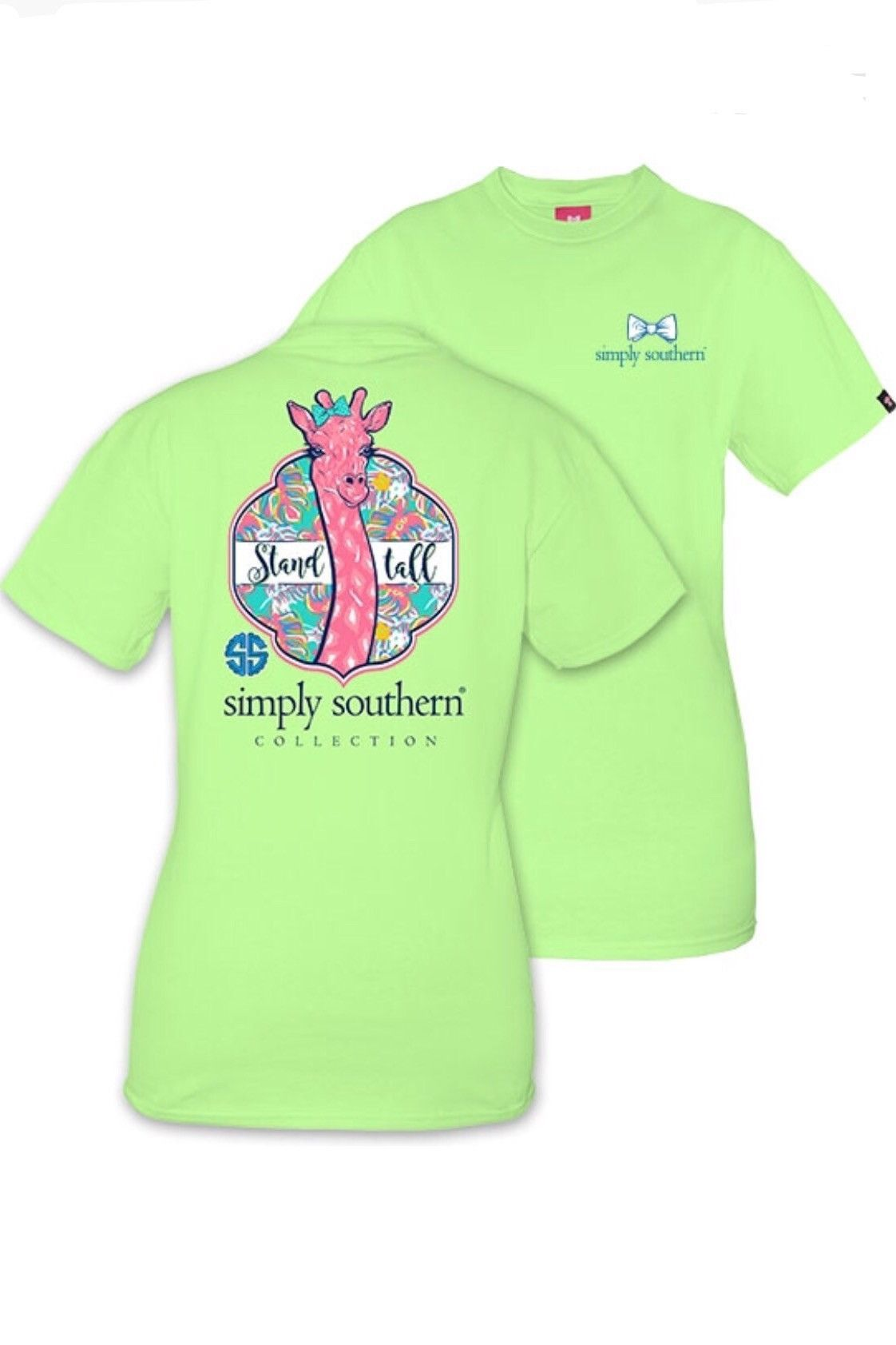 f311525c4 Simply southern youth t-shirt in the color limeaide green with an adorable  pink giraffe on the back and the saying