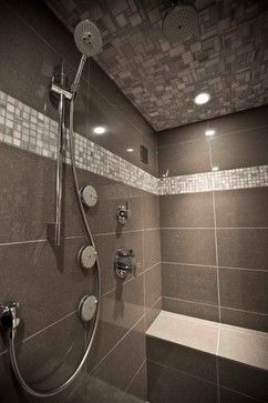 Bathroom completely tiled lovely grey tile Accessibility